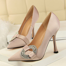 10.5CM High Heels Shoes Women Crystal Buckle Design Pointed Toe Pumps Super Ladies New Arrival DS-A0296