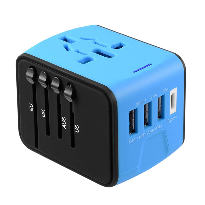Travel Adapter International Universal Power Adapter All in one with 3.4A 4 USB Worldwide Wall Charger for UK/EU/AU/Asia