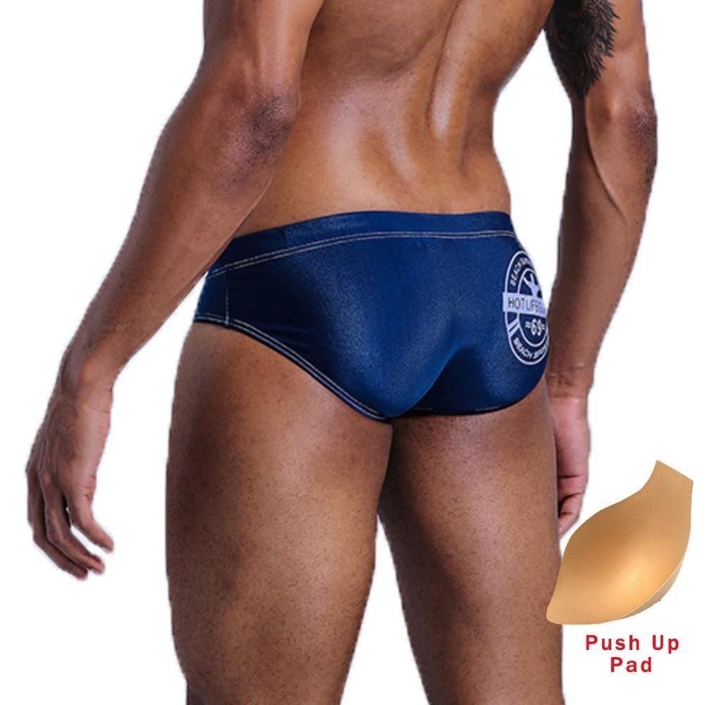 Swimwear Sexy Homens Cuecas de Banho Dos Homens de Natação Troncos Maiô Push Up Pad Cintura Baixa Gay Swimwear Nadar Calções de Praia Zwembroek heren