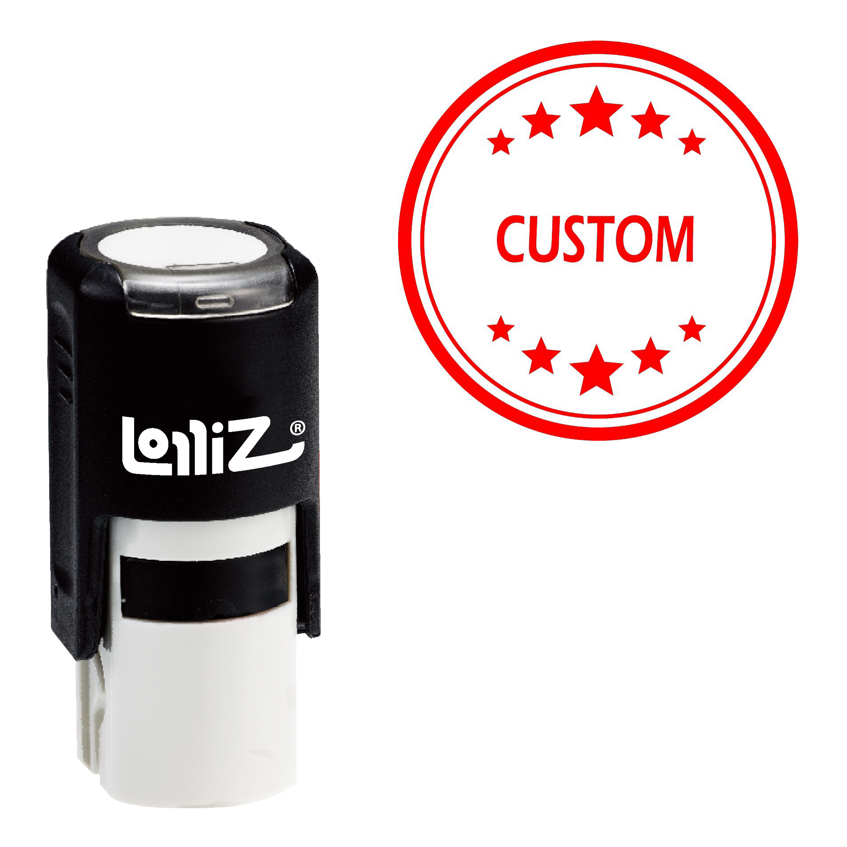 LolliZ Custom Round Office Stars One Line Self Inking Stamp-in Stamps from Home & Garden