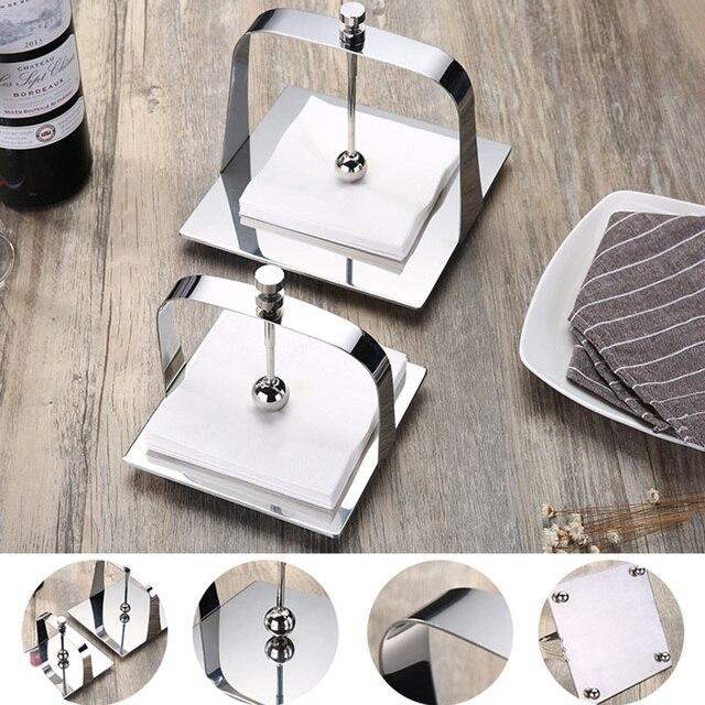 Porte-serviettes en papier acier inoxydable 1 pièce   Pratique, porte-serviettes de Table, porte-serviettes en papier pour la maison, décor de fête de Restaurant