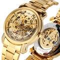 Для Мужчин Скелет Прозрачный автоматический деловые часы Золото Цвет механические часы лучший бренд для мужчин часы relogios masculino