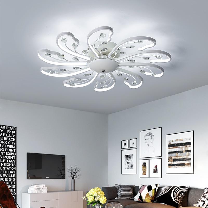 Plafond moderne à LEDs lumière fleur cristal décoration de la maison intérieur nouveauté lampes pour salon Foyer métal Dimmable télécommande