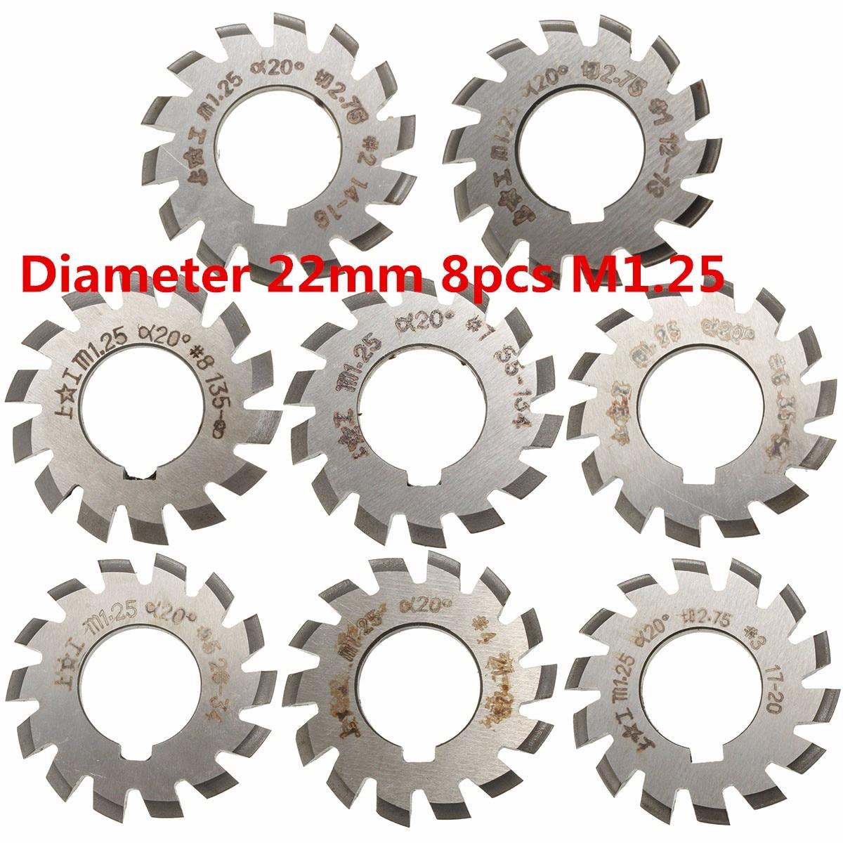 Module 1 PA20 Bore 22mm #1-8 HSS Involute Gear Milling Cutter