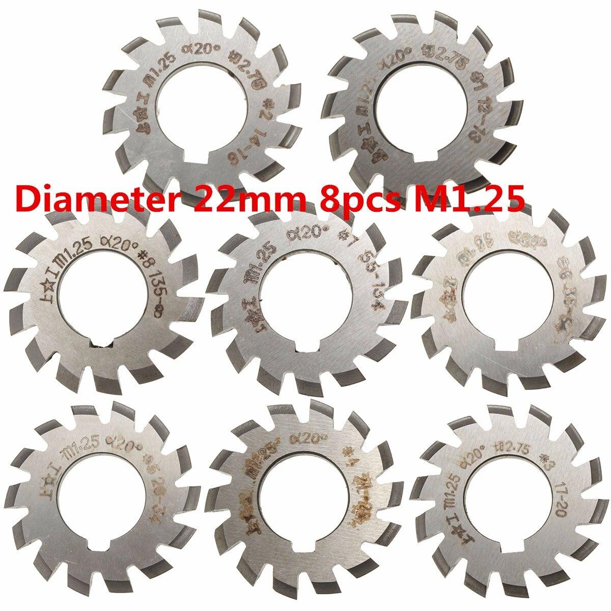 Module 1.25 M1.25 PA20 Degrees Bore 22mm #1-8 HSS Involute Gear Milling Cutter High Speed Steel Milling Cutter Gear Cutting Tool