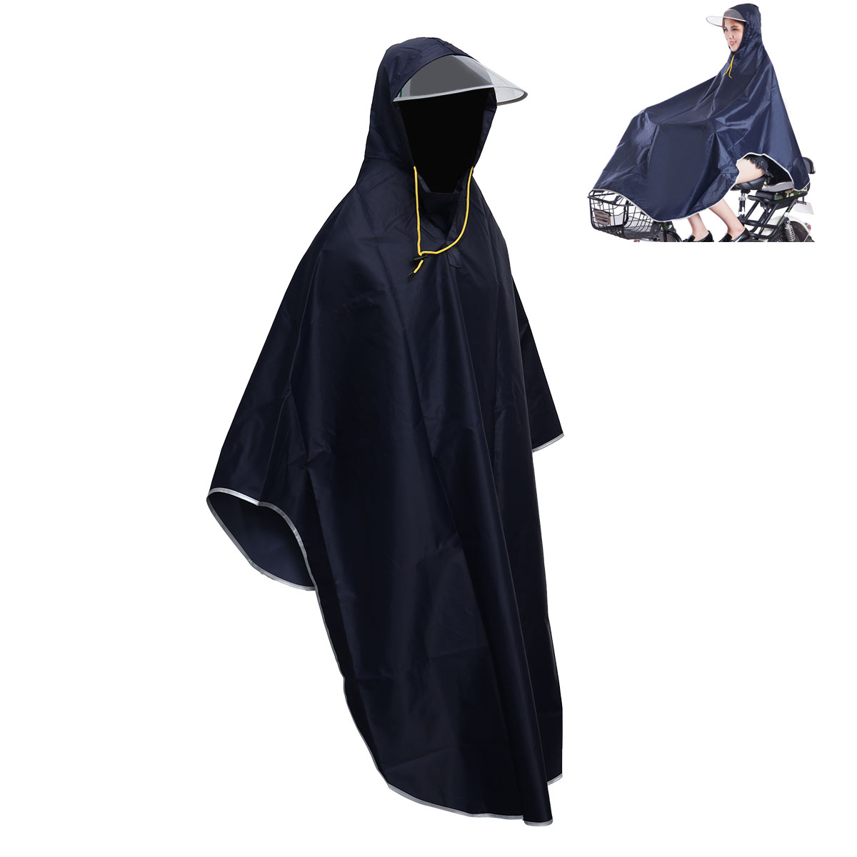 Raincoat Waterproof Men Lightweight Hooded Loose Fit Jacket Long Rain Coat Cover