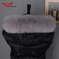 Winter Warm Women's Real Fox Fur Collar Fox Fur Cap Collar Straight Neck Warmer Soft Fur Scarf Gift Scarf, Hat Glove Sets