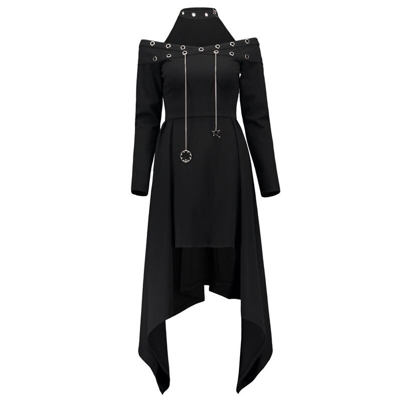Rosetic Women Dress Harajuku Gothic Dress Sexy Halter Midi Asymmetrical Halloween Women Party Dress Vampire Punk