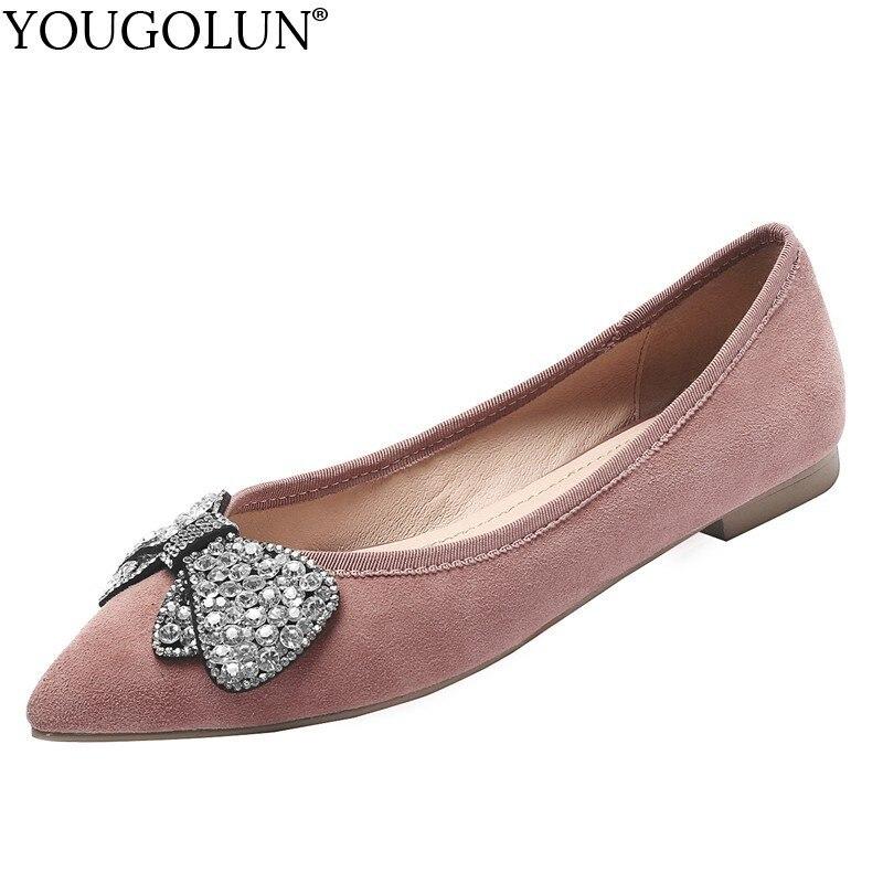Frauen Frau 2019 Damen Neue Wohnungen Leather Schuhe Flache C065 Bogen Black Mode Leder Rosa pink Frühling Leather Casual Loafers Spitz Schwarz Kristall w0O8rw