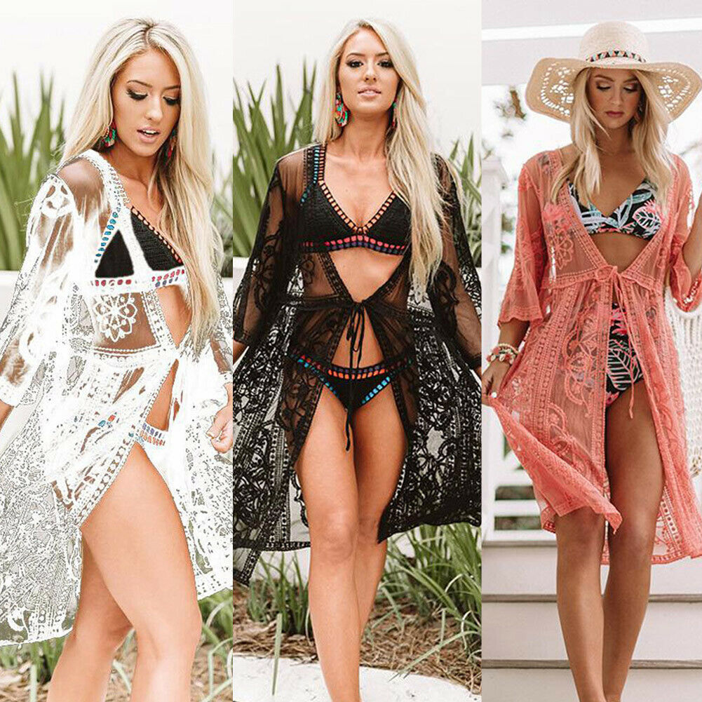 Women Sexy Bikini Cover Up Swimsuit Swimwear Ladies Lace Floral Soft Cover-ups Beach Shirt Dress Bathing Suit