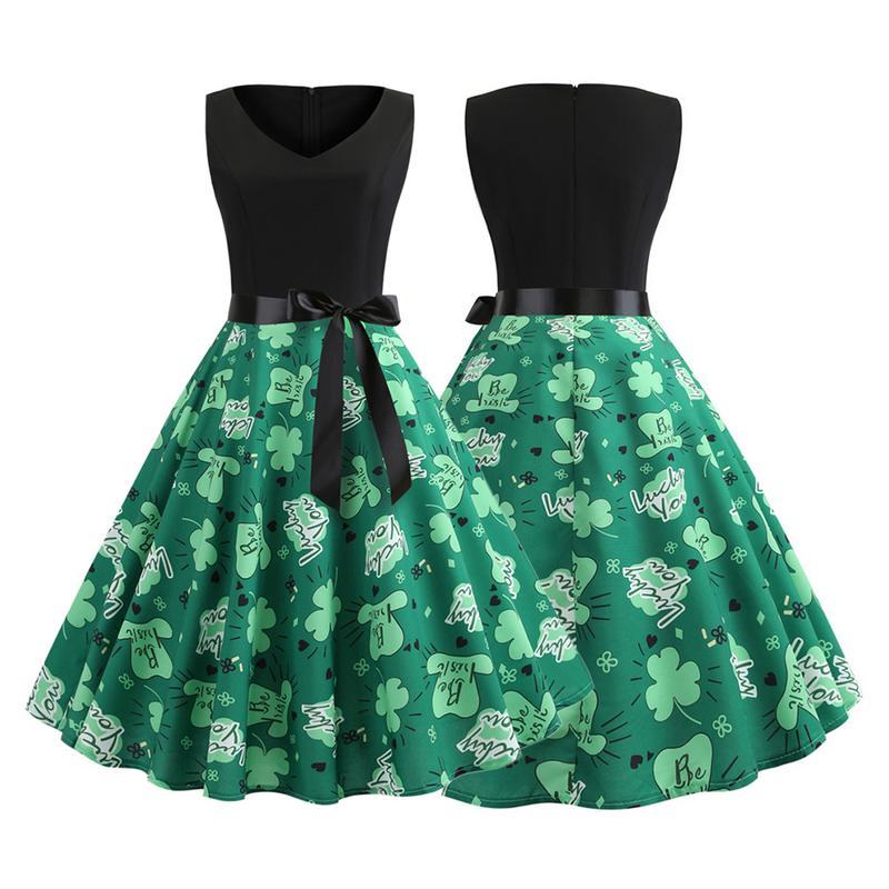2019 Spring New St. Patrick Retro Sleeveless Belt Green Print Big Swing Dress Retro dress Women's New