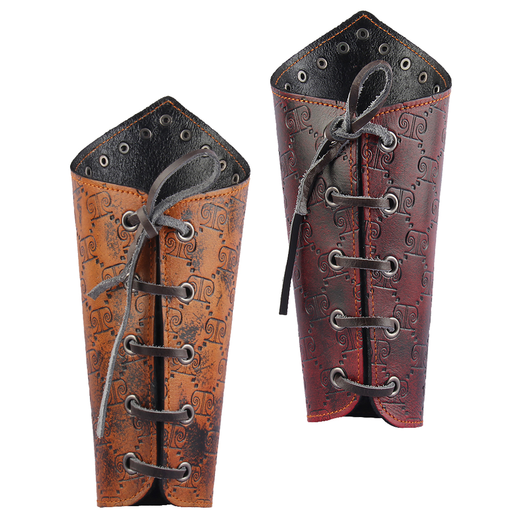 iEFiEL Faux Leather Medieval Knight Bracers Embossed Gauntlet Wristband Lace-Up Arm Guards Burgundy One Size