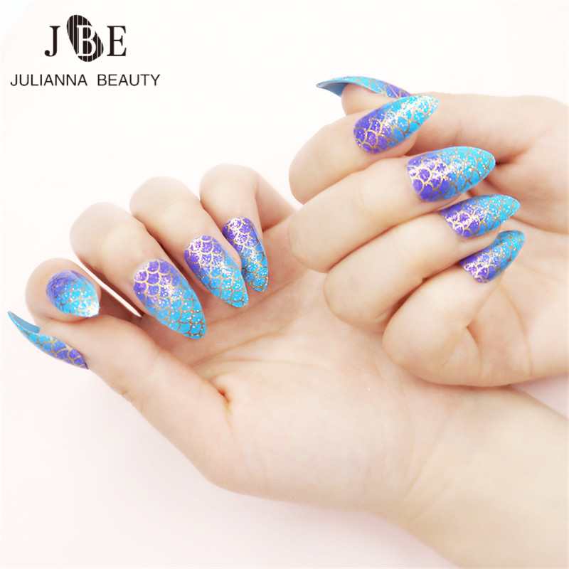Mermaid Nail Art Acrylic Nails: Aliexpress.com : Buy 24pcs/box Mermaid Glitter Stiletto
