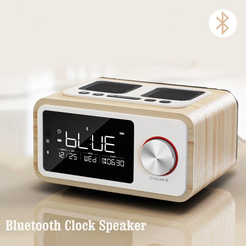 LEORY H3 RSE Bluetooth Haut-Parleur Double Alarme Horloge Sans Fil FM Radio Haut-Parleur Numérique Affichage de L'heure Mains Libres Haut-Parleur À Puce