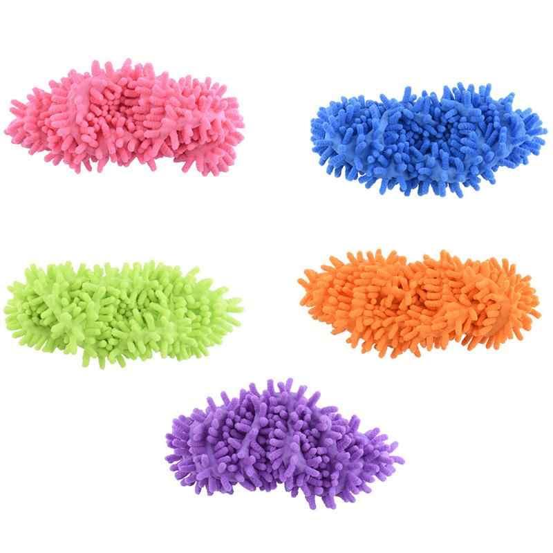 Multifunción chenilla fibra lavable polvo mopa Zapatillas Zapatos de limpieza de polvo Limpieza de piso zapatillas de pulido zapatos 1pc solamente