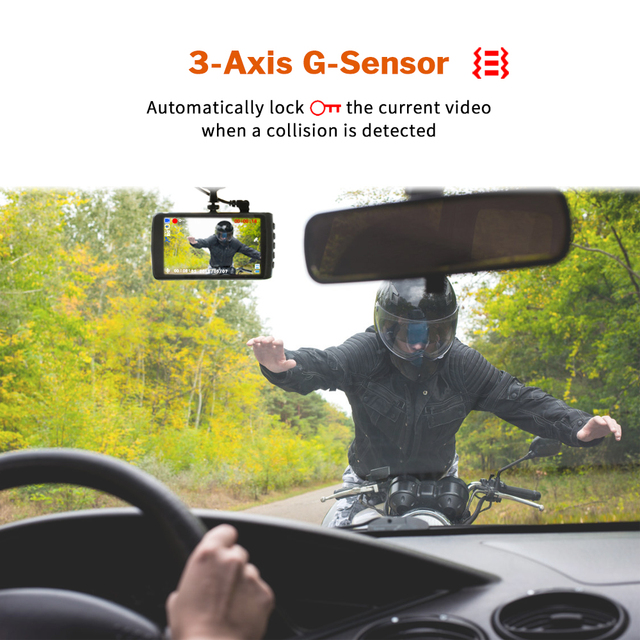 Dash Cam Car Camera DVR Driving Video Recorder Full HD Dashcam for Auto Registrator with Dual Cameras In Cars Black 1080p Box 3