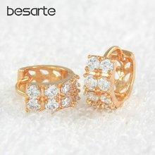 Женские золотые серьги кольца с кристаллами в форме колец ювелирные