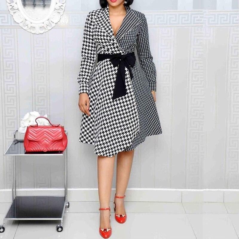 長袖ヴィンテージチェック柄ドレスの女性事務摩耗セクシーなターン襟パッチワークエレガントなベルトスリム女性ミディレトロドレス  グループ上の レディース衣服 からの ドレス の中 1