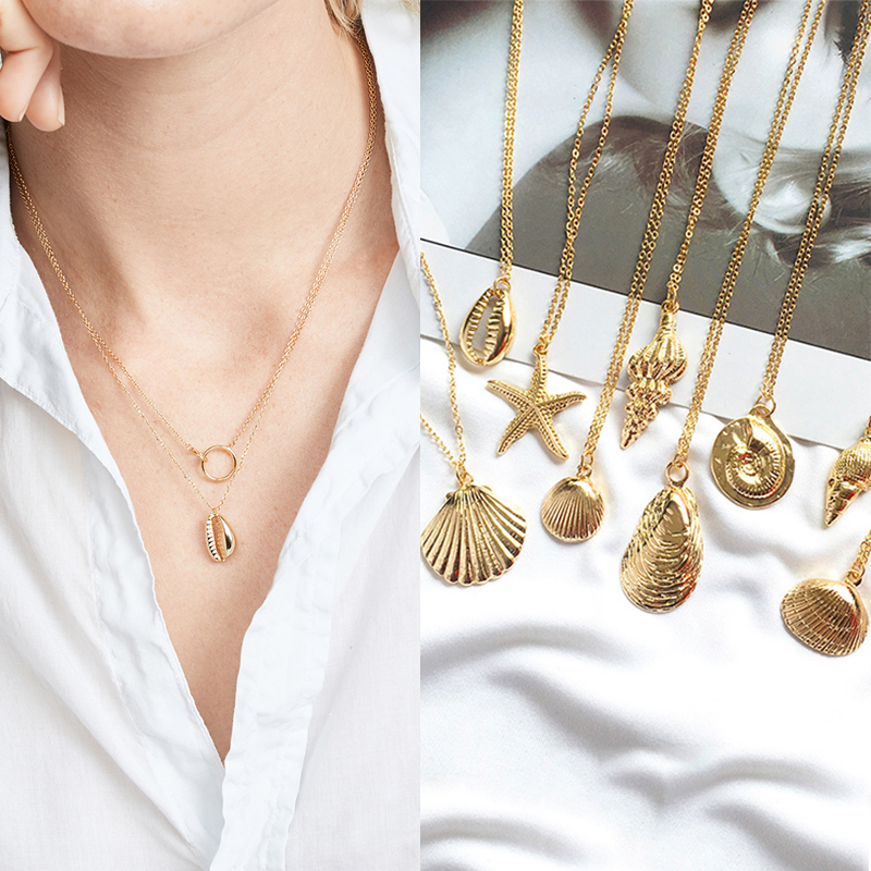 Trendy Gold Cowrie Shell Necklace for Women Conch Starfish Chain Pendant Jewelry