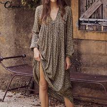 Celmia Plus Size Bohemian Vestidos Robe Mujer 2019 Summer Beach Women Dress Casual Sexy Long Sleeve Leopard Print Shirt Dresses