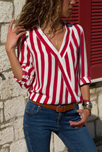 NiceMix 2019 New Autumn Women Striped Long Sleeve Shirt V Neck Loose Blusas Femme Casual Tops Sexy Tee Office Ladies Shirts Top