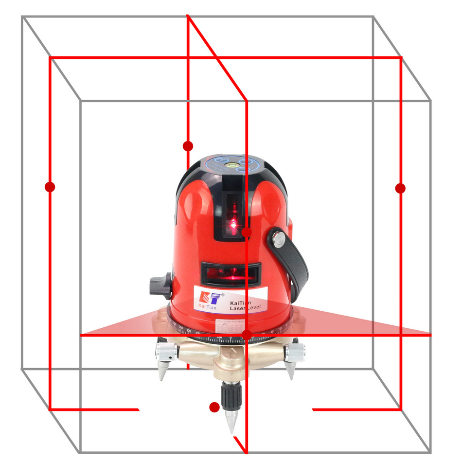 цена на KaiTian Lasers Level 5 line/self leveling/rotary/Laser Horizontal 635nm Vertical Cross Red Level/Laser Lines 360 Leveler Tools