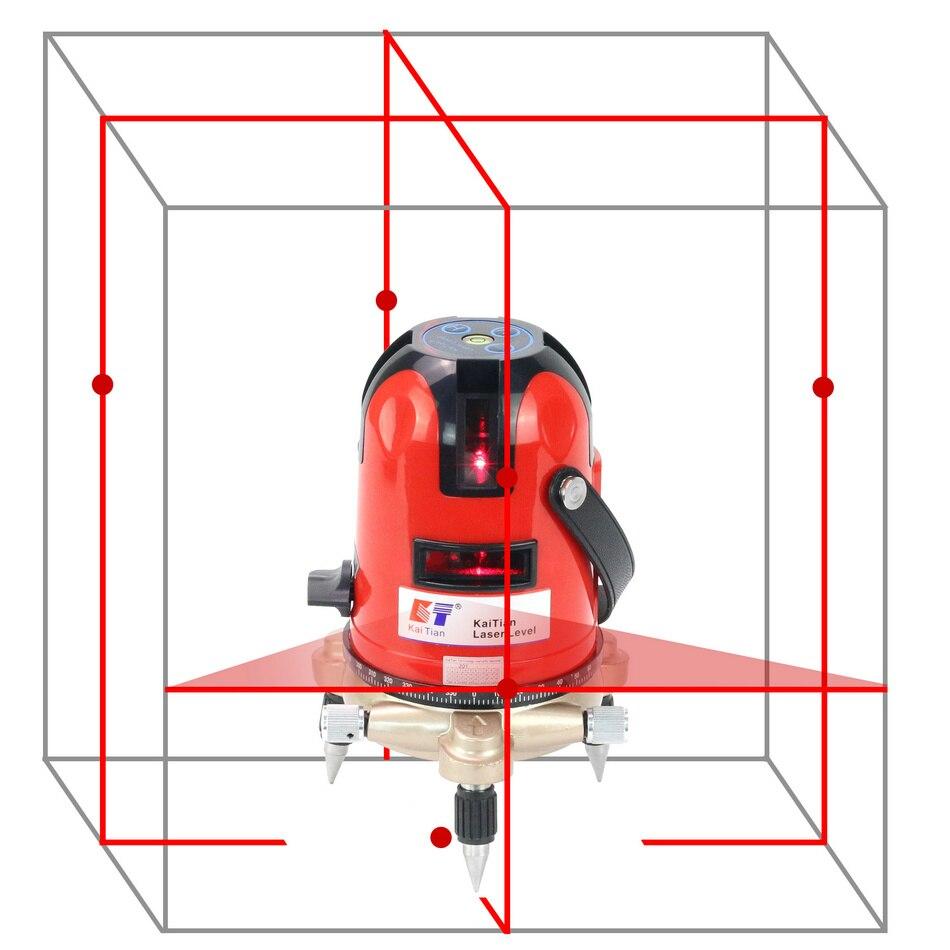 KaiTian Lasers Level 5 line/self leveling/ротационный/лазерный горизонтальный 635nm вертикальный Крест Красный уровень/Лазерные линии 360 Leveler Tools