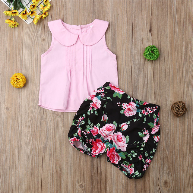 7de973bfee45 Infant Newborn 0-24M Baby Girls Sleeveless Tops Vest Floral Shorts Outfits  2pcs Summer Cute Clothes Set