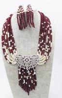 10 рядов глубокий красный круглая яшма 4 мм и Циркон застежка пресноводный жемчуг Белый Круглый цепочки ожерелья 18 FPPJ