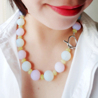 20mm Pink White Opals Crysatl Korea jades Fashion Big Necklace Nice Gift for Women