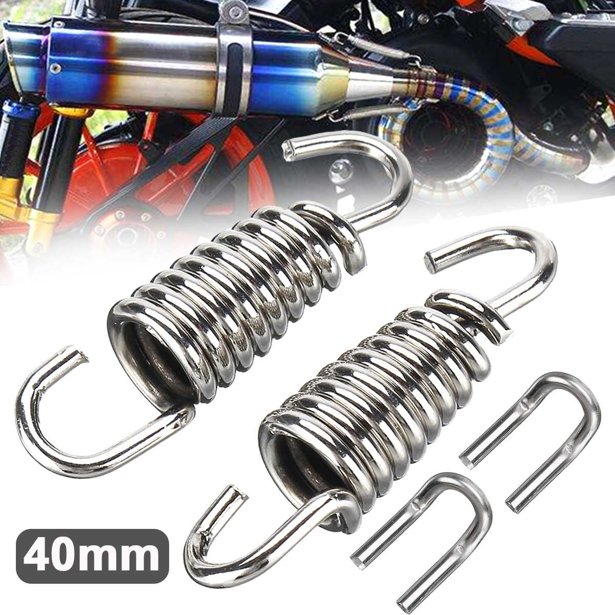 2pcs 40mm Stainless Steel Exhaust Muffler Springs Expansion Chambers Manifold Link Pipe image