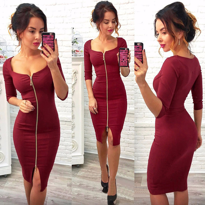 Women Sexy Club Low Cut Bodycon Dress Red Velvet 2018 Casual Autumn Winter Zipper Fashion Party Dresses Black Office Work