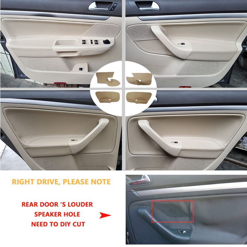 LHD For VW Jetta 2005 2006 2007 2008 2009 2010 / Golf 5 Interior Car Door Handle Armrest Panel Microfiber Leather Cover