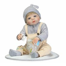 Baby Doll Reborn Silicone Reborn Baby Doll Adorable Lifelike Toddler Infant Kids Toys Friend Simulation Doll цена