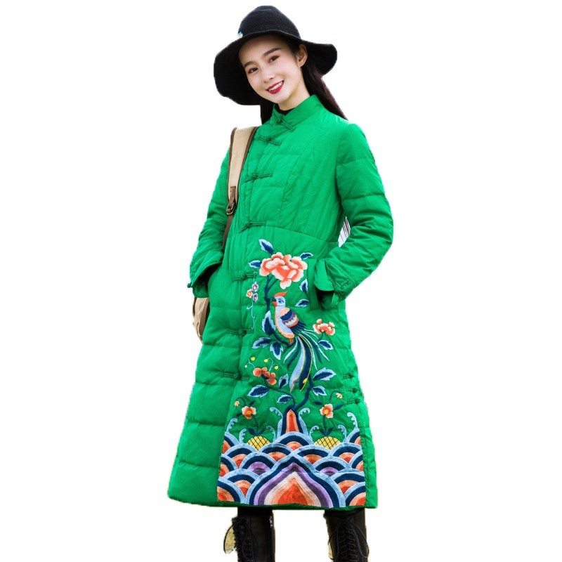 Chinese National Style 2019 Winter Jacket Women Clothes New Vintage Slim Stand Collar Embroidery White Duck   Down     Coat   B147