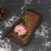 Womens glory Embossed Real Genuine Leather Zipper Handbag Long Wallet Clutches Female Coin Purse Card Holder bags with flowers