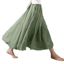 Hirigin Women Solid Summer Linen Pleated Retro Long Elastic Waist Bust Skirt