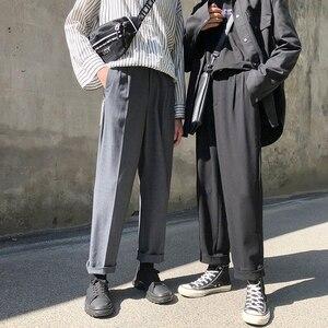 Image 4 - موضة الربيع 2019 النسخة اليابانية من سراويل الرياح المدرسية للرجال فضفاضة غير رسمية بلون بسيط Sweatpants
