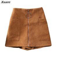 Xnxee 2020 Women Shorts Wide Leg Womens Cotton Blends Shorts High Waist Front Zipper Shorts with Pockets Sexy Mini Shorts Skirt navy random floral print back zipper high waist shorts with pockets