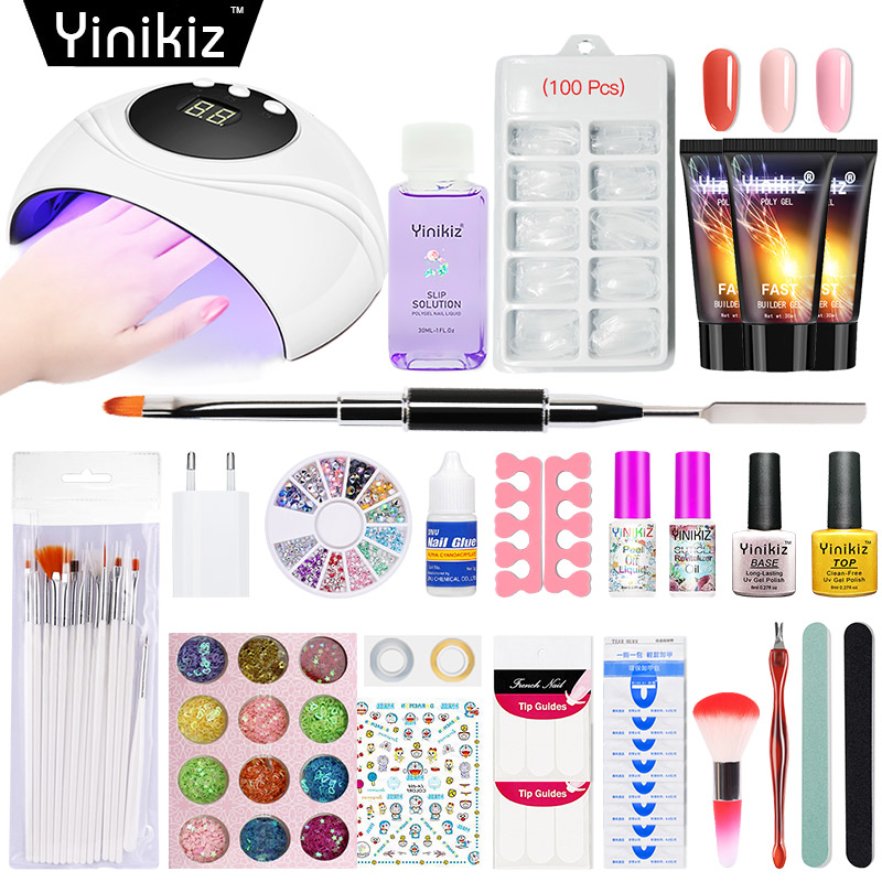 Yinikiz Acrylique Poly Gel Nail Art Ensemble Uv Led 24 w Affichage Lampe Ongles Sèche Kit Maquillage Brosse Remover Ongles outils
