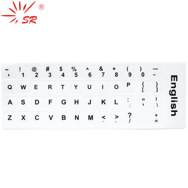 SR English Language 2 Colors Standard Waterproof e Keyboard Stickers Layout Button Letters Alphabet For Computer Laptop Keyboard