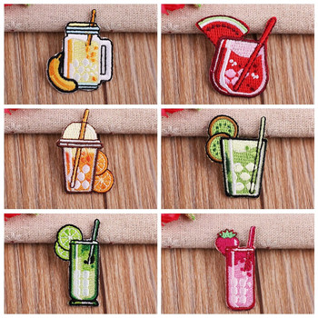 2019 Fruit beverage Food lemonade Patches Embroidery Iron on Patches for Clothing DIY Foods Stripes Clothes Stickers Appliques image