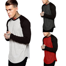 Men Long Sleeve Shirt Fashion Sports Fitness Tops Team Jersey Raglan Basic Tee Patchwork Autumn Casual Cloth(China)
