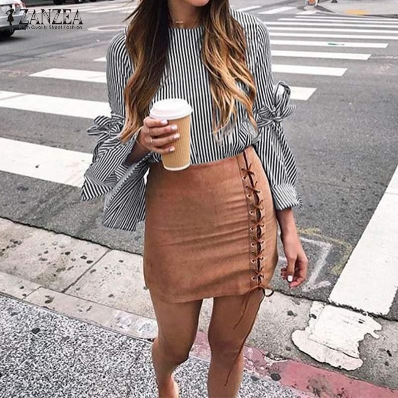 2019 Plus Size ZANZEA Spring Women Casual Long Flare Sleeve Elegant Work OL Striped Bow Tie Chic Loose Tops   Blouse     Shirt   Blusas