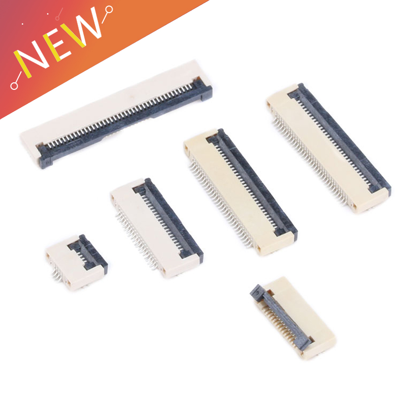10Pcs FPC Connector Socket FFC 0.5MM Clamshell Bottom Contact Type 4P 6P 8P 10P 12P 14P 16P 18P 20P 24P 26P 30P 32P 34P 40P