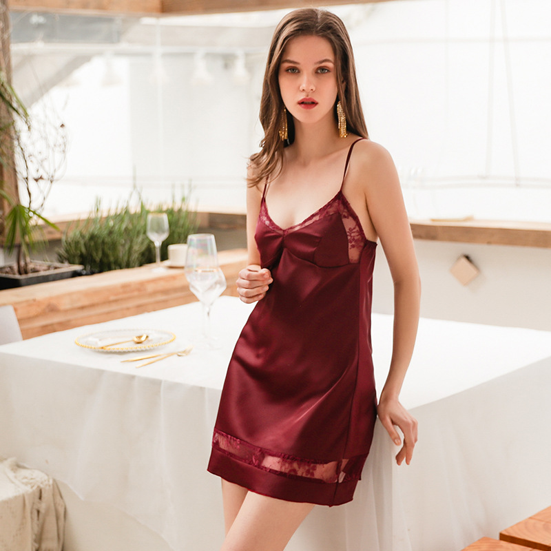 2019 Women   Nightgowns   Sleep Lounge Lace   Nightgowns   &   Sleepshirt   With Chest Pad Sleepwear Sexy Lingerie Night Dress Nightwear