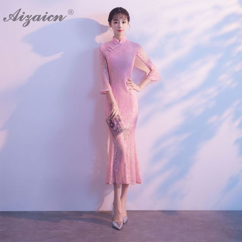 Lace Mermaid Long Cheongsam Modern Women Chinese Traditional Clothing Dress Qipao Oriental Style Pink Evening Dresses Robe in Cheongsams from Novelty Special Use
