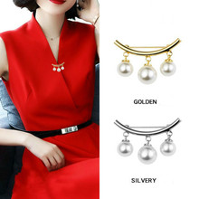 Gold Silver Color Hanger Brooches For Women Fashion Accessories Lovely Simulated Pearl Anti-Light Brooch Pins cmajor flower shaped brooch with pearl jewelry silver gold color brooches for women