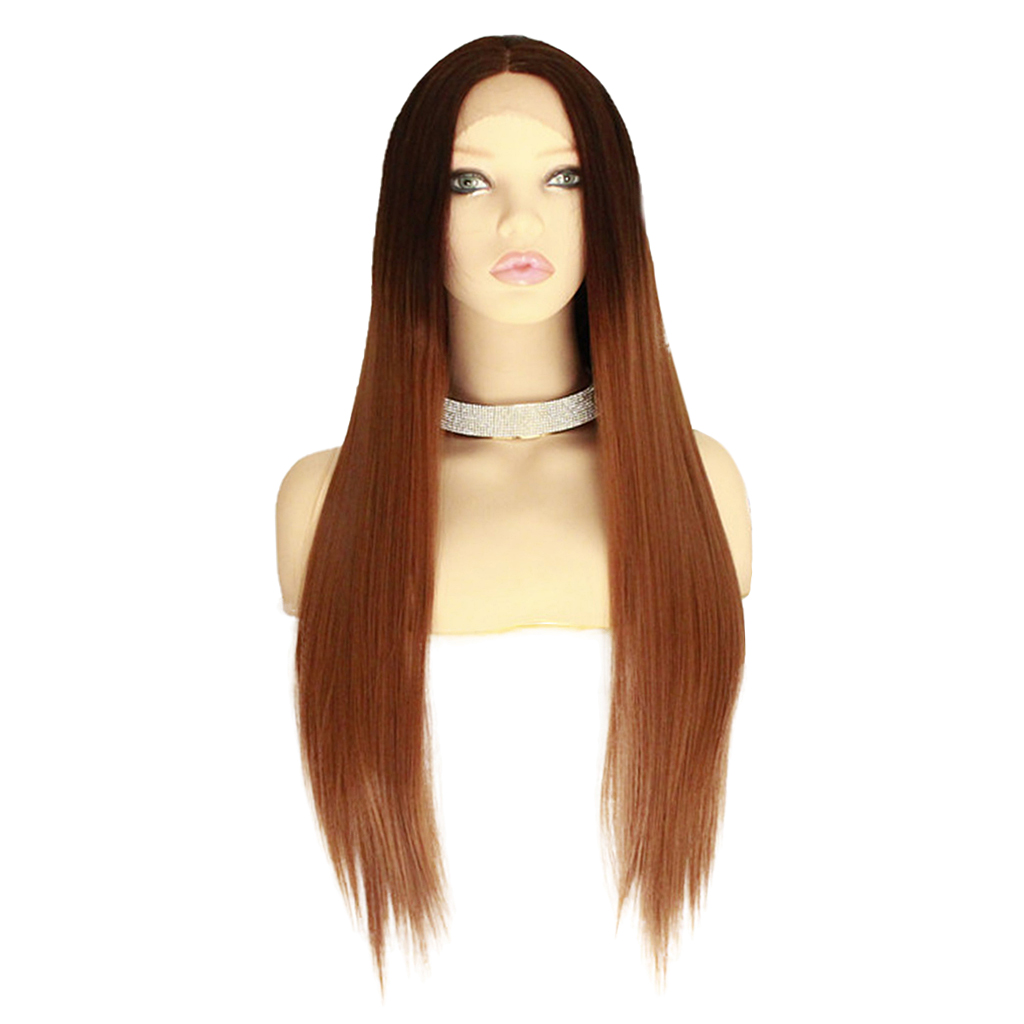 26 inch Synthetic Lace Front Wigs Resistant Full Wig Long Straight Hair Brown long side bang slightly curly lace front synthetic wig