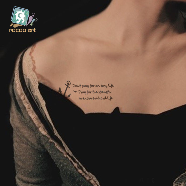 HC-210/Newest Beauty Taty Temporary Body Tattoo Stickers Waterproof Letter Anchor TempoTattoos On Chest Wrist For Men Women